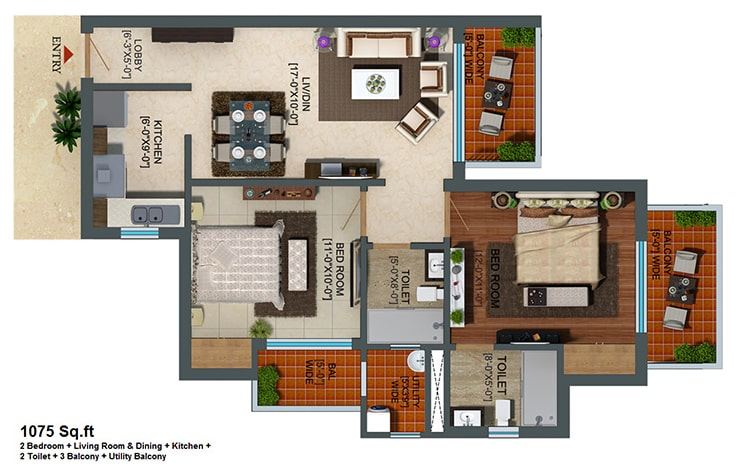 Capital Athena Unit Plan 1075 sqft