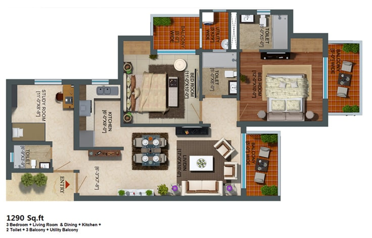 Capital Athena Unit Plan 1290 sqft