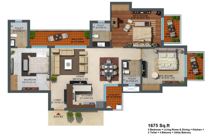 Capital Athena Unit Plan 1675 sqft