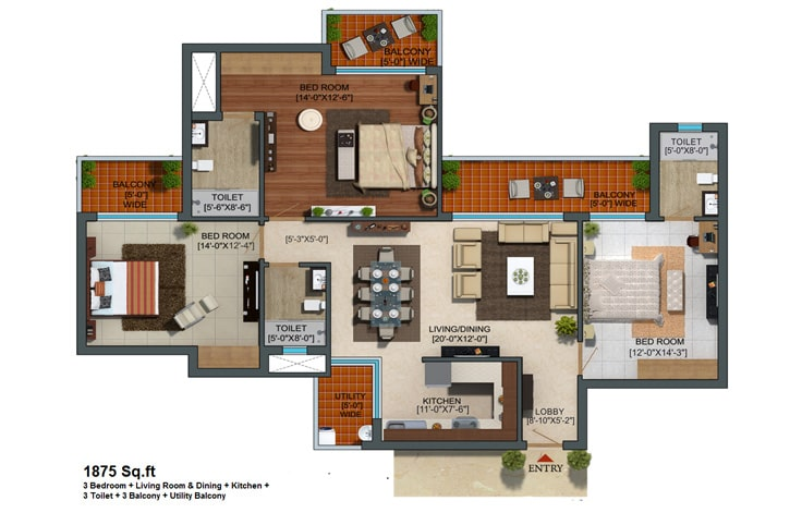 Capital Athena Unit Plan 1875 sqft